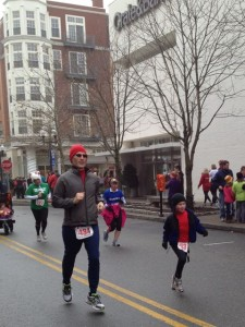 Leland (and Eli) finishing The Blue Back Square Mitten Run, December 2012.