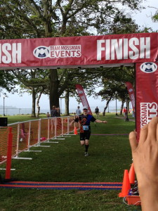 Crossing my first finish line.